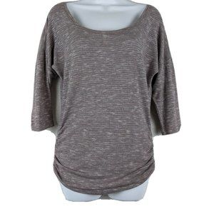 Maurices Purple And Silver Ruched 3/4 Sleeve top